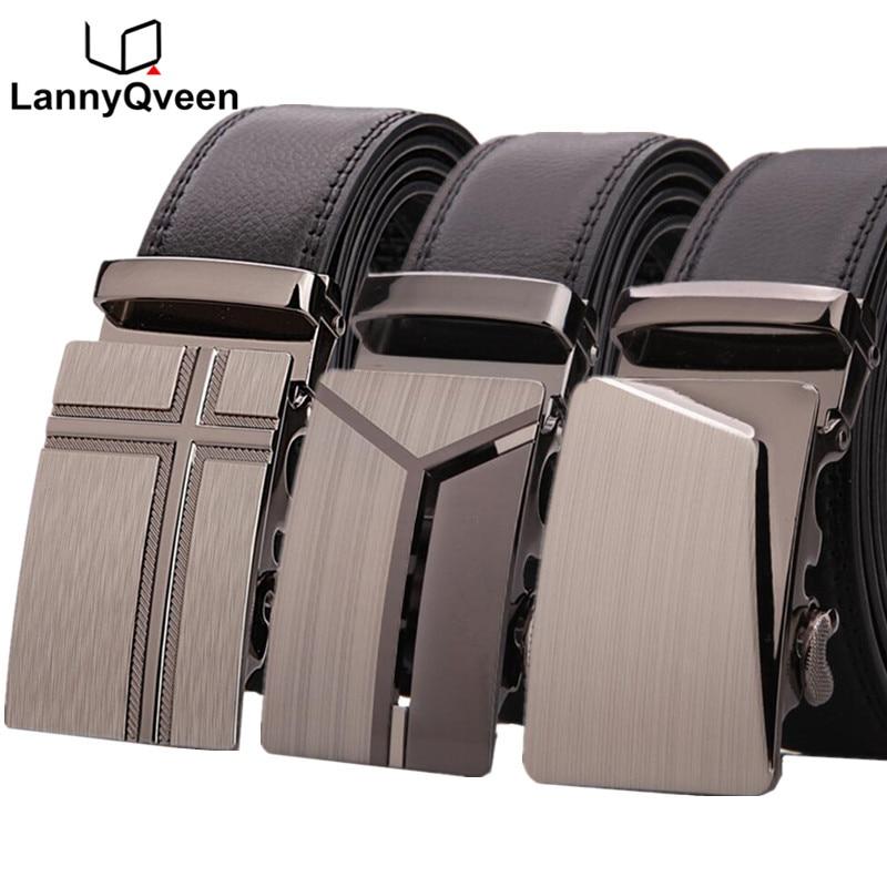 LannyQveen 100% เข็มขัดหนังแท้สำหรับผู้ชายยี่ห้อที่กำหนดเองผู้ชายเข็มขัดหัวเข็มขัดอัตโนมัติขายส่งพิมพ์โลโก้จัดส่งฟรี