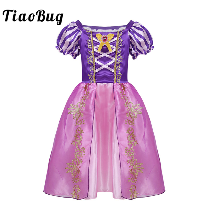 TiaoBug Children Girls Puff Sleeve Purple Fairy Tale Tulle Tutu Dress Kids Halloween Costume Princess Cosplay Party Fancy Dress