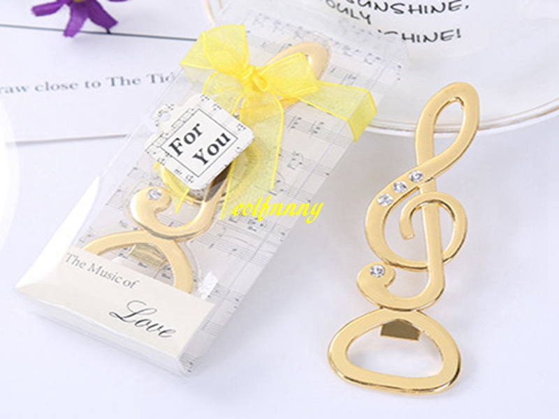 50pcslot Fast Shipping Gold Music Note Beer bottle opener With Shinning diamond for Wedding party gift favor