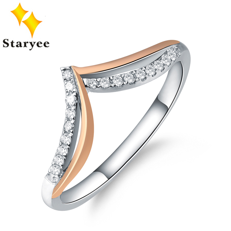 STARYEE Solid 18K Au750 White Rose Multi Two Tone Gold Engagement Ring Bands For Women wedding Diamond Accents 0.1CT VS H hot sale couples wedding bands lock and key love solid 18k white gold diamond engagement ring wu141