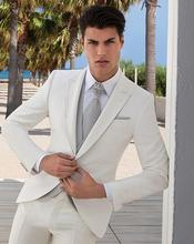 Latest Coat Pant Designs White Beige Slim Fit Men Suit Jacket Tuxedo Custom Groom Style Suits 3 Piece Blazer Terno Masculino