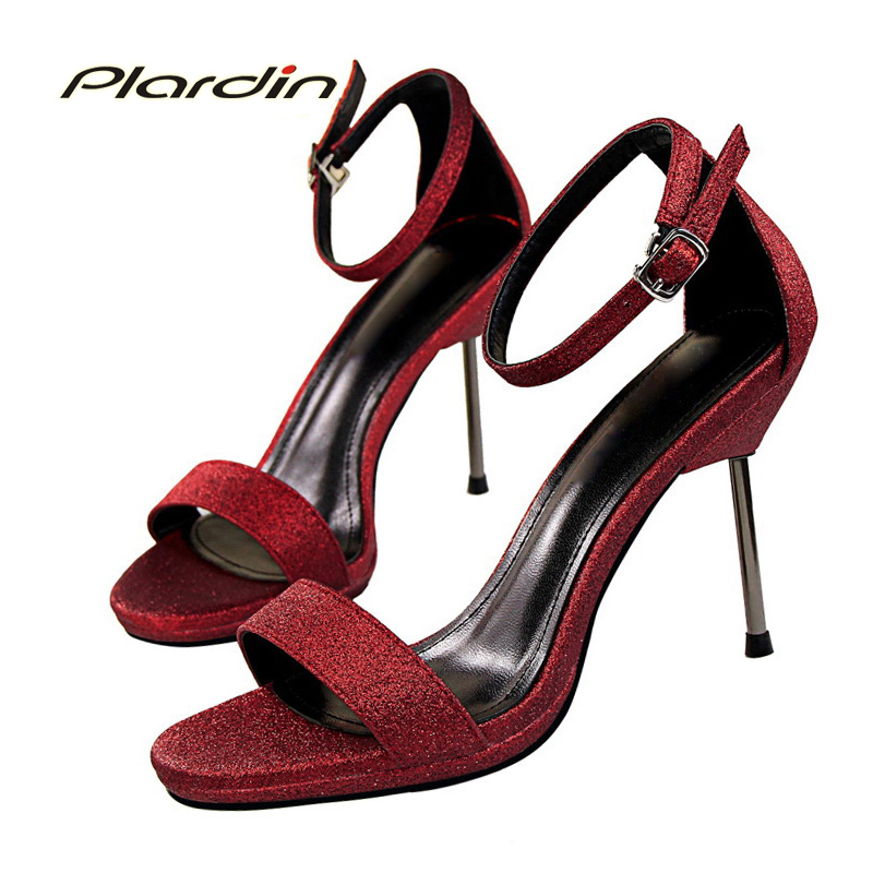 plardin 2017 Summer Fashion Shoes Woman Bling Ankle Strap Belt sandals Platform Buckle Strap Women Party Thin High Heel Pumps xiaying smile summer woman sandals fashion women pumps square cover heel buckle strap bling casual concise student women shoes