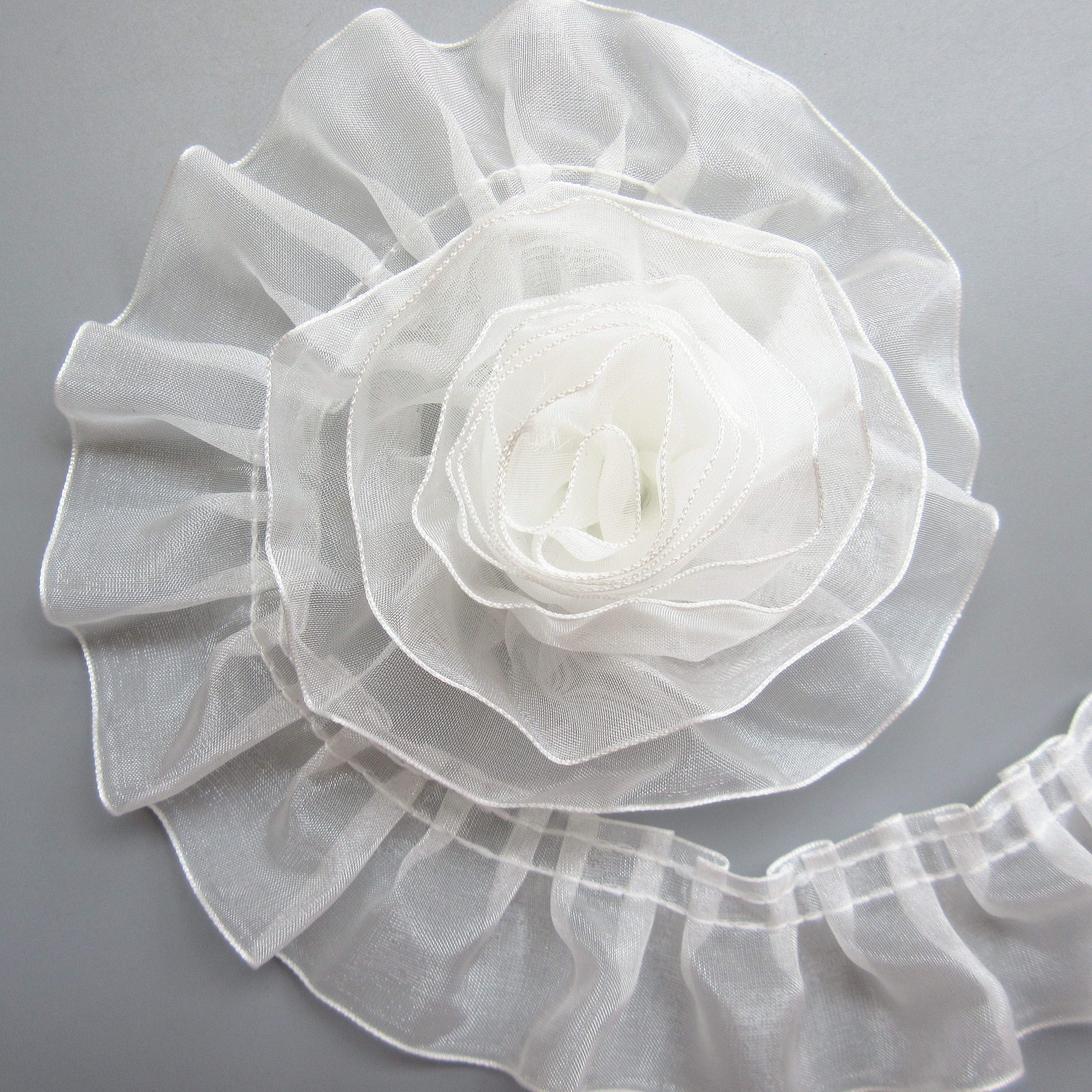 1Y Elastic Band Lace Trim Pleated Gathered Tulle Mesh Ribbon Dress Sewing Craft