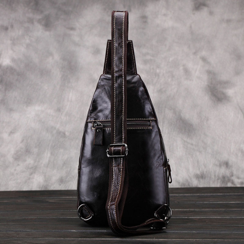 Men Vintage Oil Wax Genuine Leather Bag Crocodile Sling Chest Bag Travel trend small Shoulder Cross Body Messenger Pack gift
