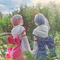 Anime Re:Zero kara Hajimeru Isekai Seikatsu Cosplay Costume Child Rem and Ram Kimono Cosplay Uniform Outfits  Halloween Costumes