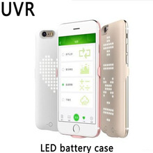 UVR Travel Battery Charger Case For iphone6/7/8 2000-4000mAh smart DIY LED Show external battery for iphone 6/7/8 plus Cover