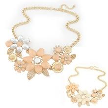 2014 новый модный яркий цветок ожерелье очарование горный хрусталь ожерелье и подвеска подарок сеть колье биб себе ожерелье
