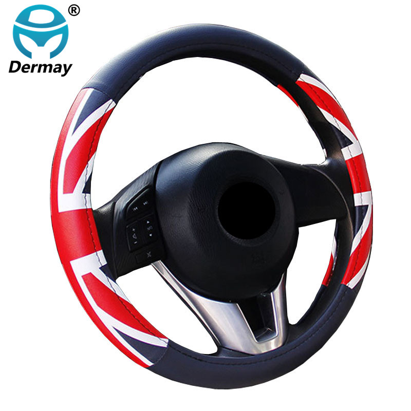 DERMAY 38cm Auto Steering-Wheel Black Car Styling Steering Wheel Cover Leather Steering Covers Car Interior Accessories vintage leather steering wheel cover flower printing women s car steering wheel covers for girls car steering accessories