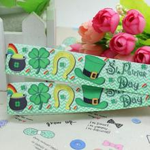 22mm hair bows grosgrain wedding grosgrain s 7/8inch St Patrick& Day printed ribbon Hairbow O cheap children accessories