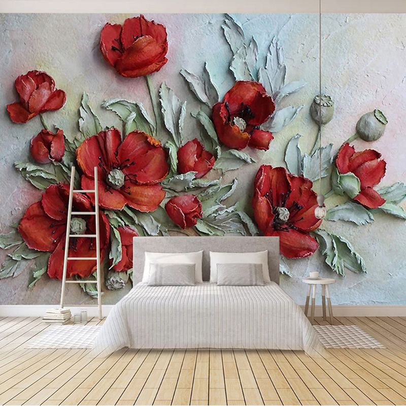Custom Self Adhesive Mural Photo Wallpaper 3D Stereoscopic Embossed Red Flower Living Room Bedroom Backdrop Decor Wall Painting