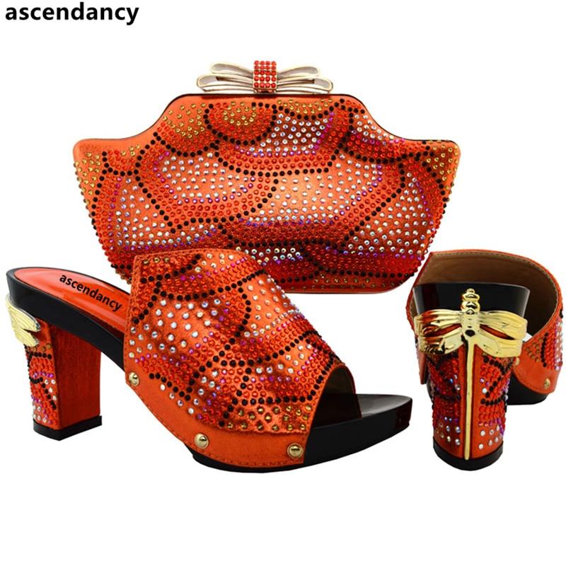Pompes Avec Et Africain gold Sacs Assortis orange De Vert Parti Les Femmes Chaussures Nigérian Or Italien Italiennes Mariage Sac Couleur qxtFPF