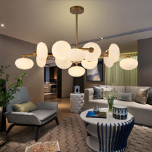 Post-Modern Glass Ball Chandeliers Magic Beans Led Pendant Lamp Lights Living Room Restaurant Bedroom Light Fixtures Luminaire post modern spark ball restaurant chandeliers nordic cozy bedroom personality originality fashion simple living room led light