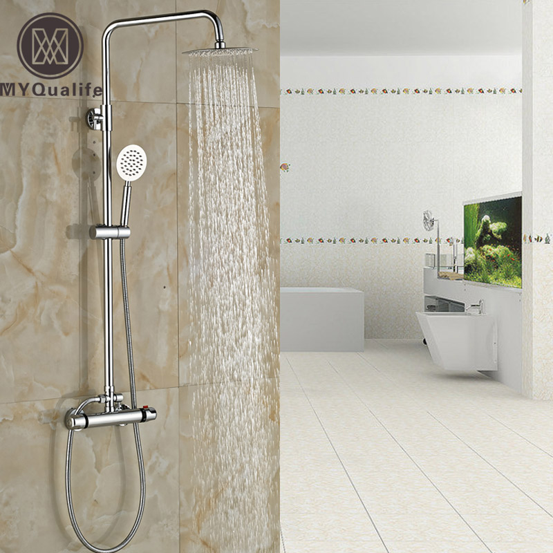 Luxury In-wall Thermostatic Mixer Valve 8 Brass Rainfall Shower Faucet Dual Handle with Handshower Mixer Taps polished chrome wall mount temperature control shower faucet set brass thermostatic mixer valve with handshower