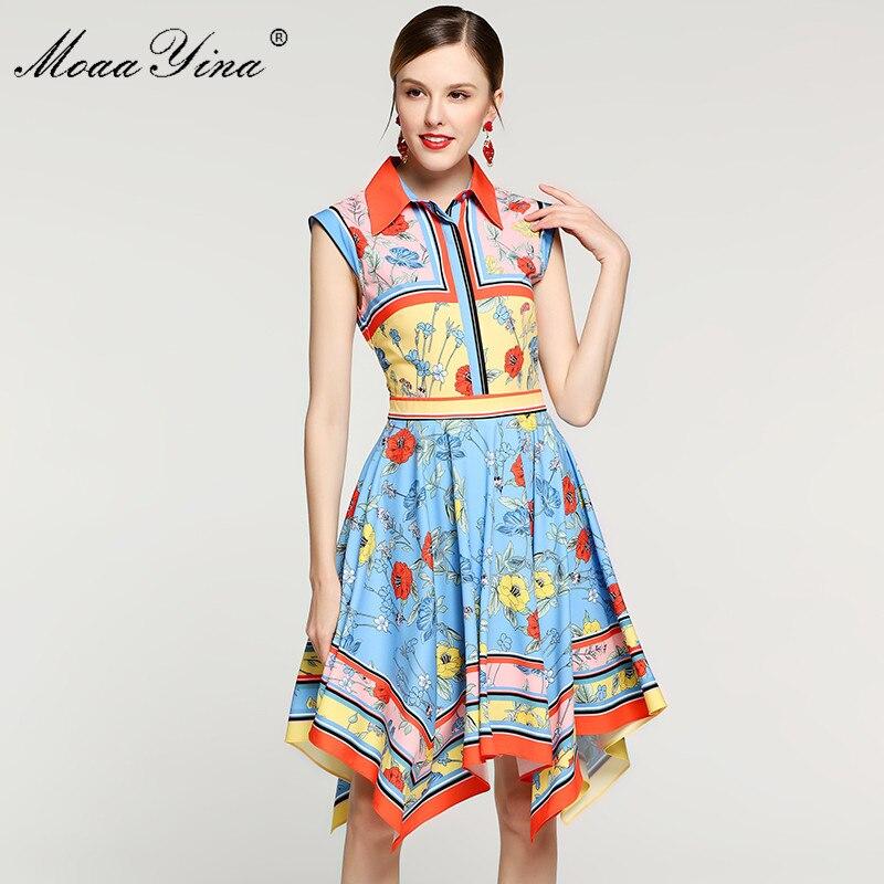 MoaaYina Fashion Designer Piste robe pour femmes Robe Turn-down Col sans manches Floral-Print Mince Élégant Asymétrique Robes