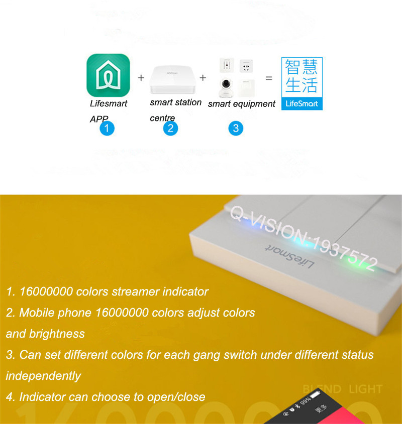 Lifesmart UK Type Blend Streamer Smart Switch Cell Phone APP Remote Control 16 million Color RF433 AC220V Smart Home IOS Android-4
