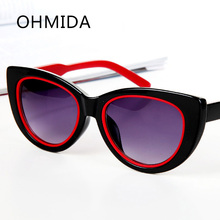 OHMIDA Nueva Moda Cat Eye Sunglasses Mujeres HD Rojo Gafas de Sol de Diseñador de la Marca Oculos gafas lentes de sol de Espejo Femenino
