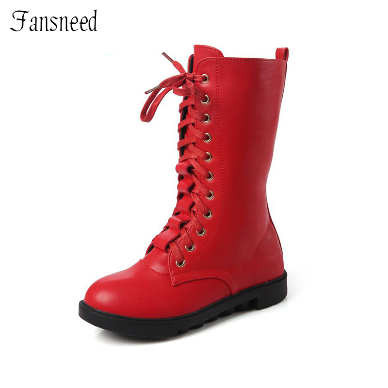 Fansneed Autumn and winter new girls single boots genuine leather children high snow boots princess boots high quality snow boots 2017 autumn and winter new australia s 100