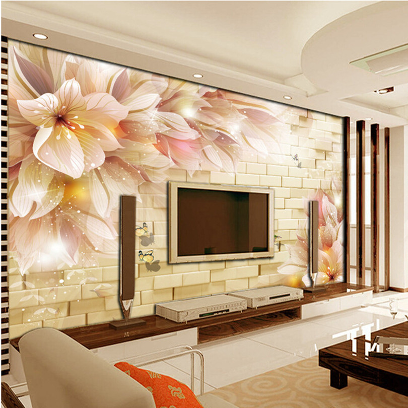 Custom paper de parede 3d stone wall murals for the for Murales para salon