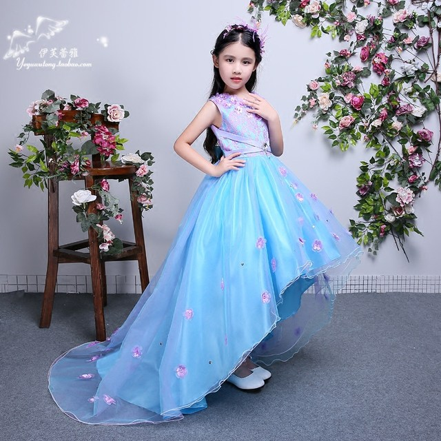 Online Shop Girls Long Maxi Dress Wedding Flower Tutu Dress Kids ...