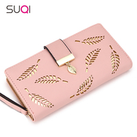 2018 Women   Wallet   Purse Female Long   Wallet   Gold Hollow Leaves Pouch Handbag For Women Coin Purse Card Holders Portefeuille Femme