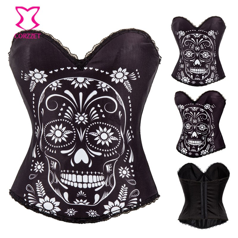 Black-Cotton-Floral-and-Skull-Pattern-Burlesque-Corset-Lingerie-Bustier-Sexy-Push-Up-Corsets-Gothic-Clothing (5)