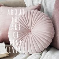 European Luxury Velvet Cushion Round Handmade Throw Pillow Pleated Wheel Pumpkin Seat Cushion 40*40 cm