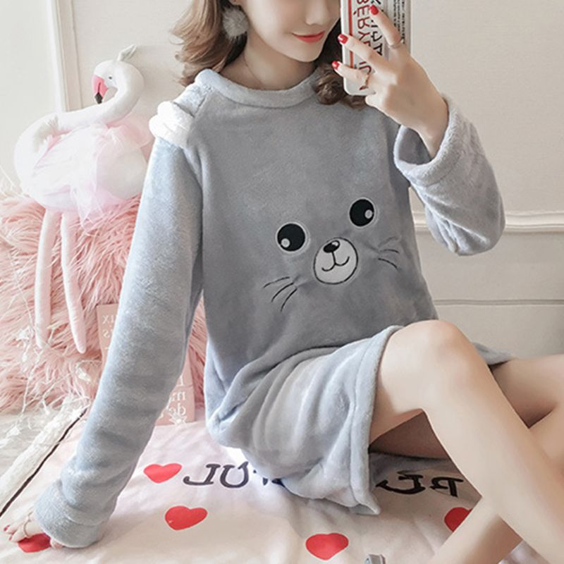 Autumn Winter Warm Flannel Nightgown Home Wear Lovely Nightgowns For Women Girl Sleepwear Nightgown Send Hair Band