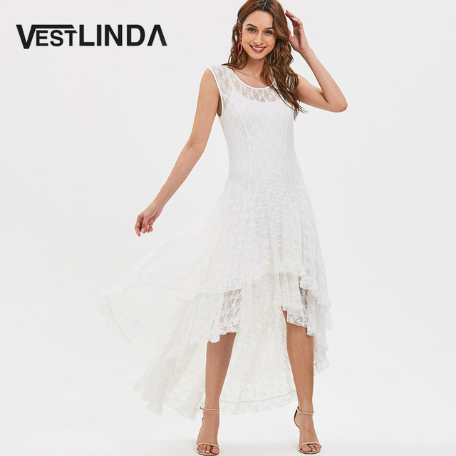 a08b74774c6ed VESTLINDA Sleeveless High Low Layered Tiered Lace Dress Women Summer 2018  Maxi Dress Robe Femme Vestidos