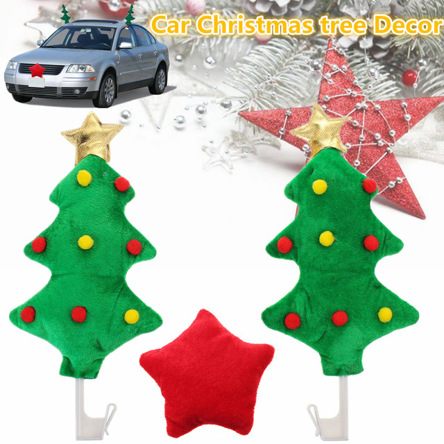 2x Car Christmas Tree Decoration Red Star Style Ornament Auto Costume Decor