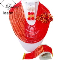 Brand Laanc Indian Crystal Bridal Jewelry Sets Red and Gold 4mm Beasd Flower Brooches African Fashion Necklace AL175