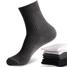 Homem meias de fibra de bambu anti bacteriano desodorização e ar permeável negócios lazer meias