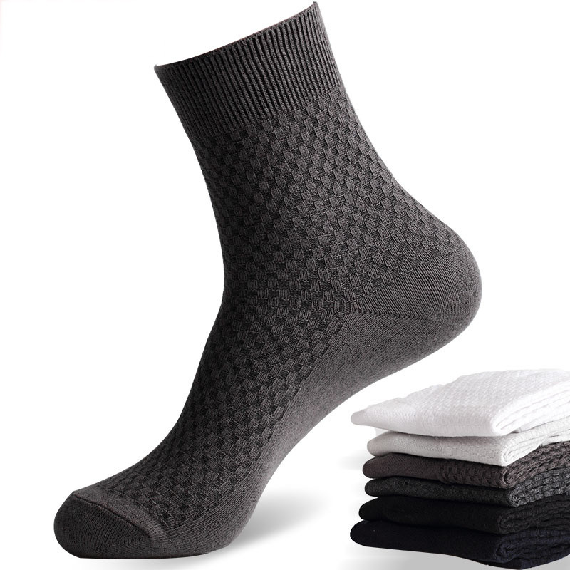 Size42-45 Business Men Socks Bamboo Fiber Cotton Sock Suitable For Spring, Summer And Autumn Models Strong Elasticity Youth Sock
