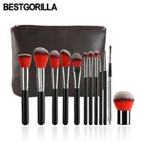 Professional Fashion 12pcs Makeup Brush Beauty Tools 12 Makeup Brush Sets Cylinder Gradient Handle With Eyebrow
