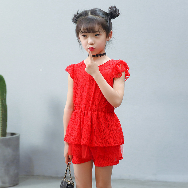 2-6Y Children Girls clothing sets 2018 new Cute O neck Fashion Lace T-shirt+shorts Kids Sports Suits summer baby girls clothes