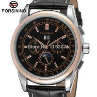 FSG319M3T3 New arrival promotion price Automatic men moon phase watch black genuine leather strap free shipping with gift box
