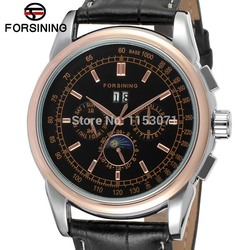 все цены на FSG319M3T3 New arrival promotion price Automatic men moon phase watch  black genuine leather strap free shipping with gift box онлайн