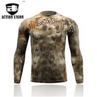 Estate militare camuffamento t-shirt uomo tattico esercito combattere t shirt quick dry manica lunga camo clothing casual o collo tshirt