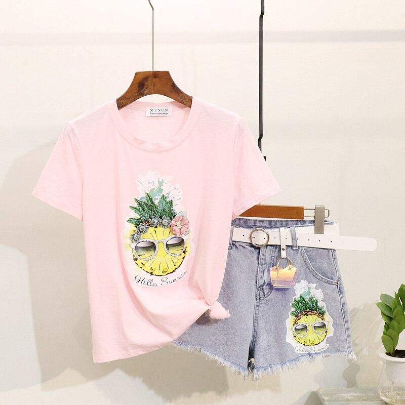 Été T-shirt haut pour femme 2019 nouvelle mode perles ananas imprimé T-shirt à manches courtes + Burr Denim Shorts femmes deux pièces ensemble