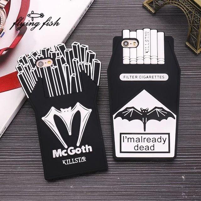 3D Cartoon Fries Chips Black Batman Cigarette Box Silicone Case for iPhone 6 6S 7 Plus 5 5S SE 5C Phone Back Case