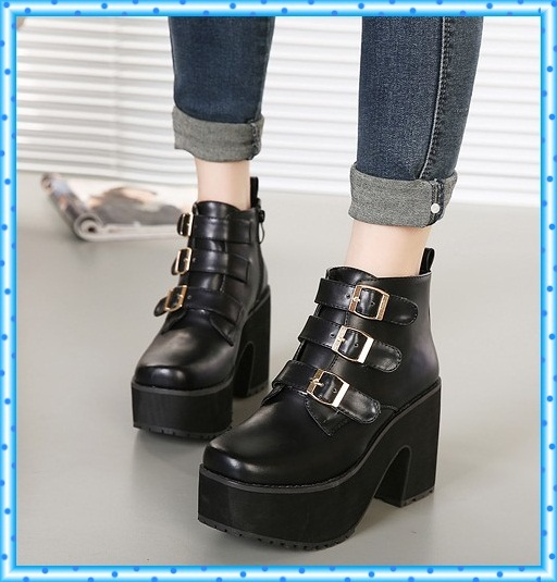 punk booties platform boots shoes woman winter autumn motorcycle chunky high heels ladies martin pumps women ankle boots C426