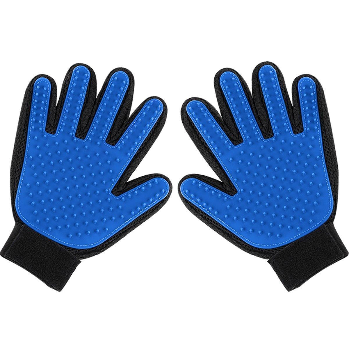 부드럽고 효율적인 애완견을위한 2 팩 목욕 신랑 장갑 업그레이드 장갑 손질 브러쉬 빗 그루머 도구 마사지 오른쪽 왼쪽