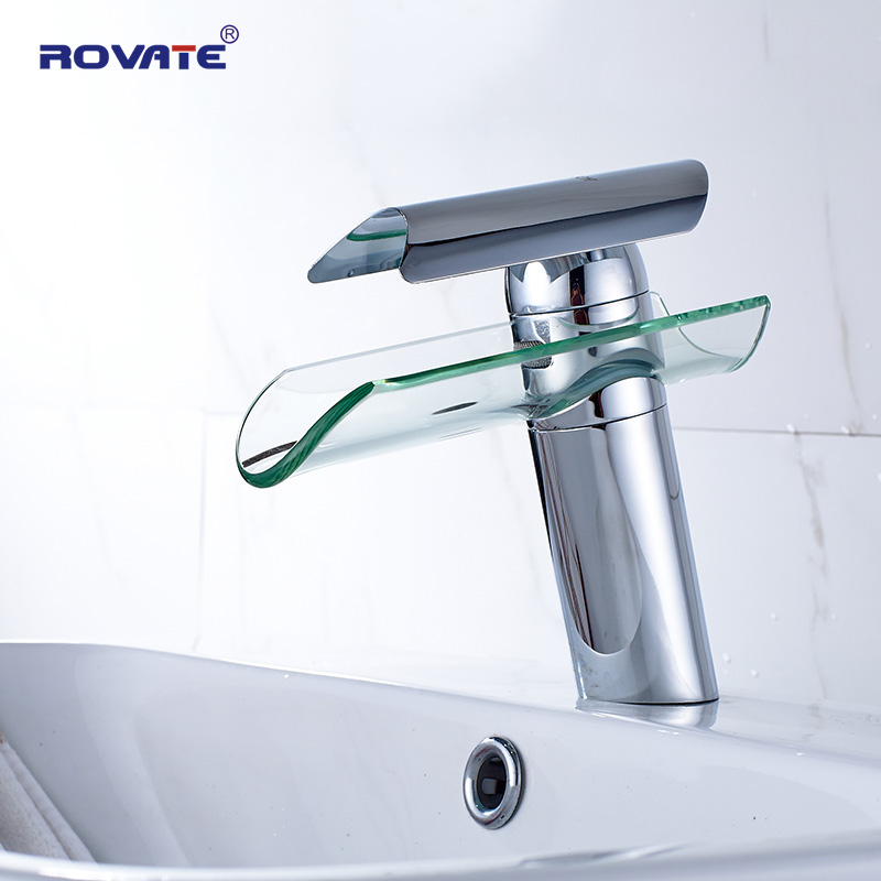 ROVATE Bathroom Basin Faucet   Waterfall Spout Glass Brass Chrome Nickel Brushed Cold and Hot Mixer Water Sink TapROVATE Bathroom Basin Faucet   Waterfall Spout Glass Brass Chrome Nickel Brushed Cold and Hot Mixer Water Sink Tap