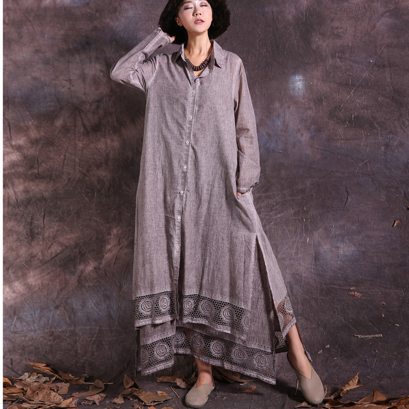 Johnature 2019 Spring Women Solid Color Long Shirts New Vintage Loose Waist Patchwork Lace Sweep Turn