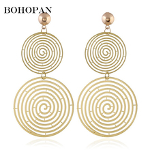 Double Round Hollow Out Drop Earrings For Women Large Dangle Gold Silver Statement Jewelry Geometric Big Party