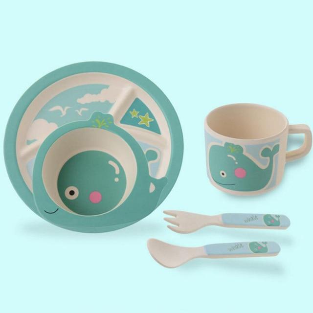 Baby environmental food dinnerware set Bamboo fiber children three lattice tableware set of 5pcs 14 styles/designs free shipping