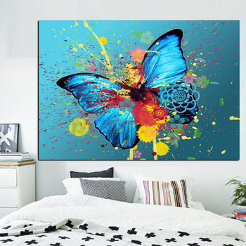 Butterflies Graffiti Abstract Painting Printed on Canvas 2