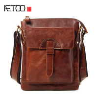AETOO Spring and summer new leather men 's shoes men' s shoulder Messenger bag small layer of leather leisure tide bags