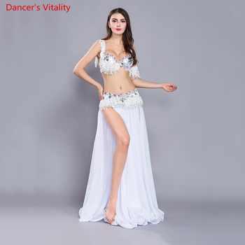 Luxury Tassel Women\'s Suits Belly Dance India Dance Attire for Halloween Carnival 4 pieces. Bra Belt Belt Skirt Armbands