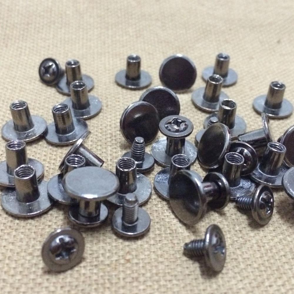 100Set 10X7MM Černé kulaté ploché hroty Kovové ploché šrouby Nýty Šroubové spony Kuželové kožené řemeslné hroty Fit pro výrobu DIY