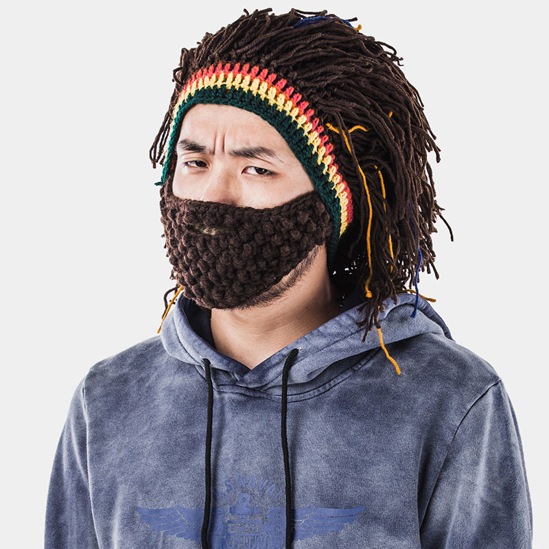 Funny Men s Winter Warm Cap Riding Ski Mask Beanie Handmade Knitted Hat Present